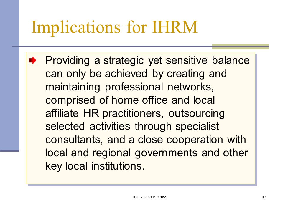Implications for IHRM