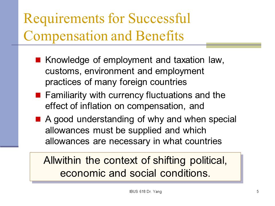 Requirements for Successful Compensation and Benefits