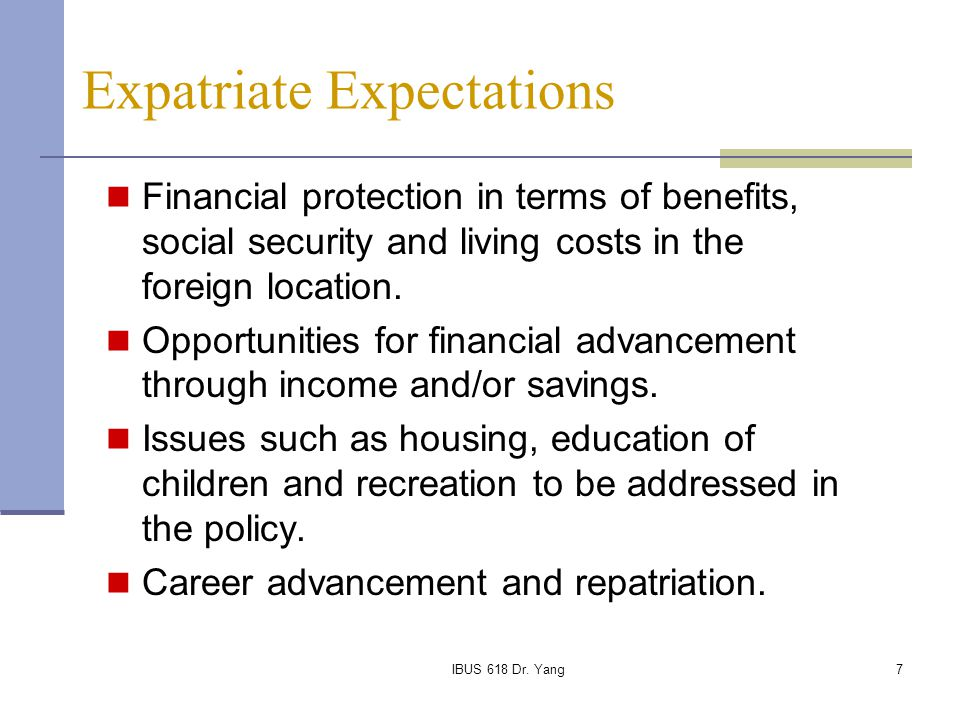 Expatriate Expectations