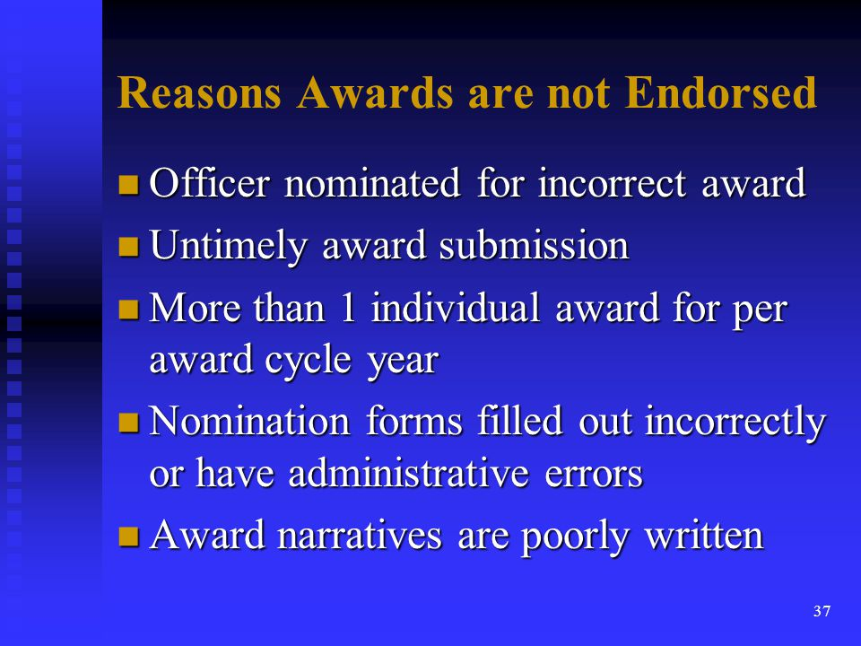 Reasons Awards are not Endorsed
