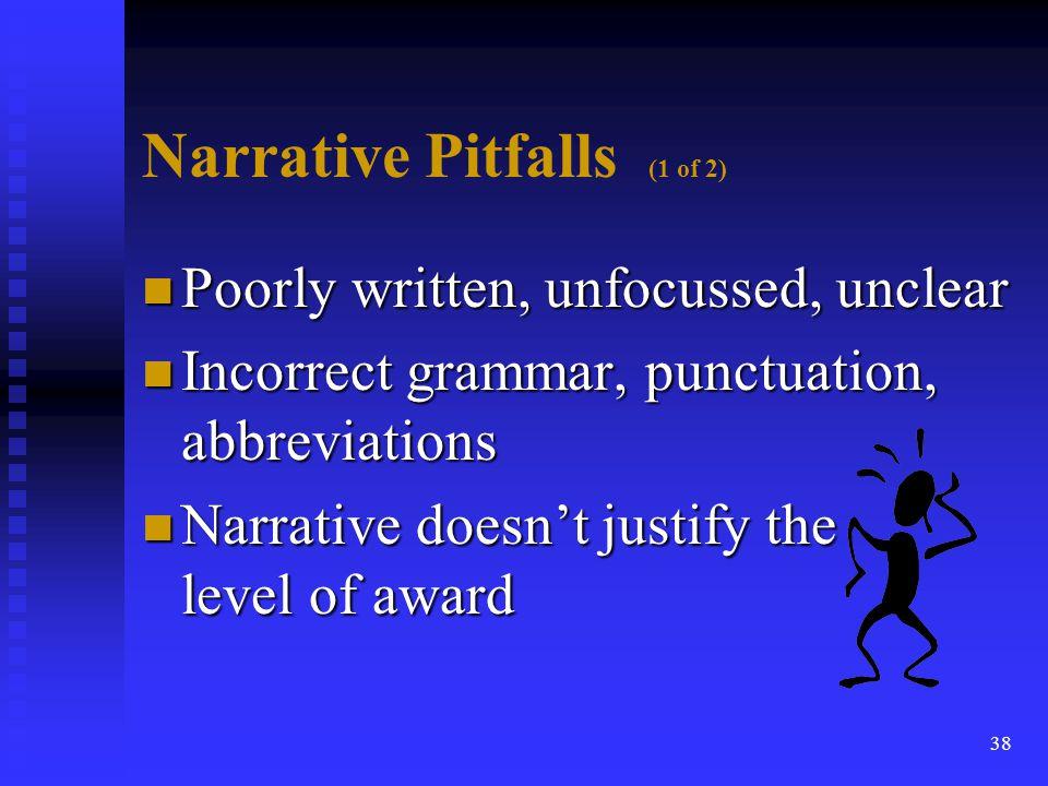 Narrative Pitfalls (1 of 2)