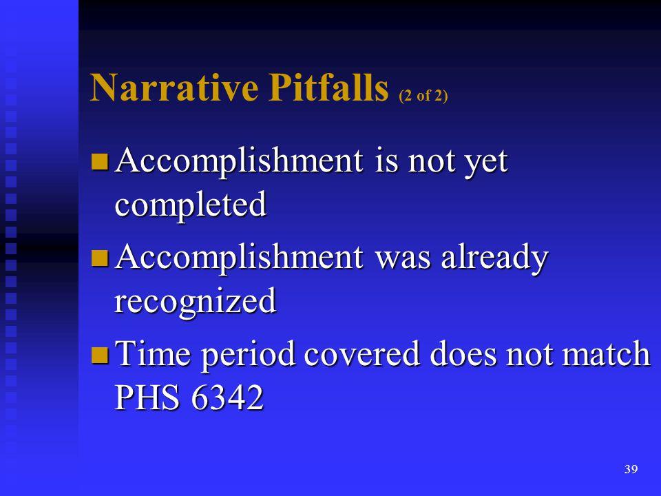 Narrative Pitfalls (2 of 2)