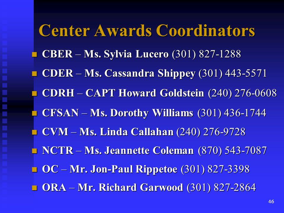 Center Awards Coordinators