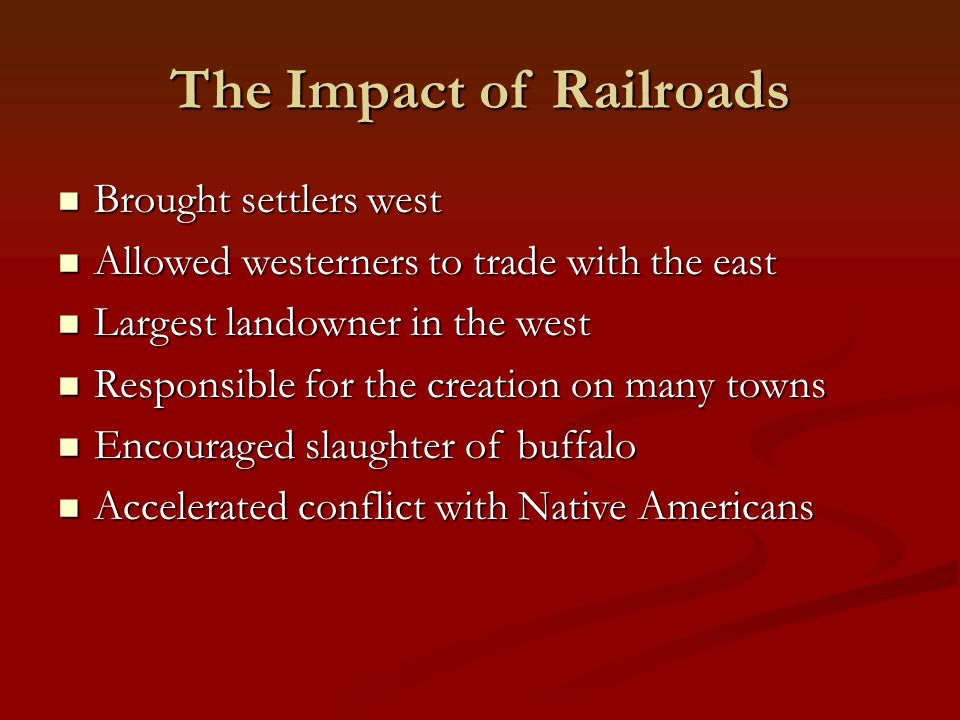 The Impact of Railroads