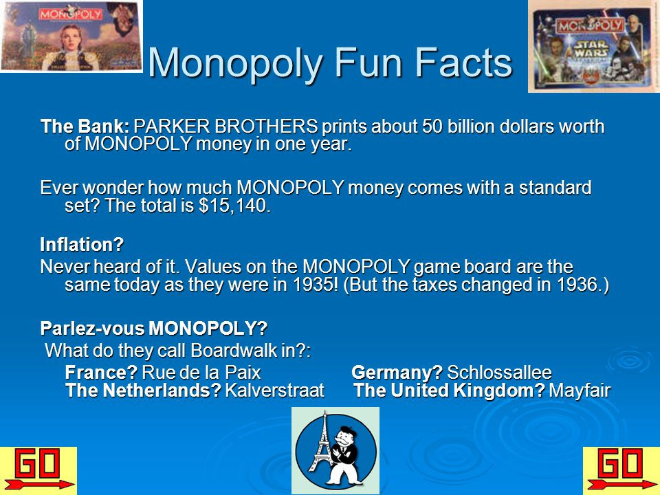 Monopoly Fun Facts The Bank: PARKER BROTHERS prints about 50 billion dollars worth of MONOPOLY money in one year.