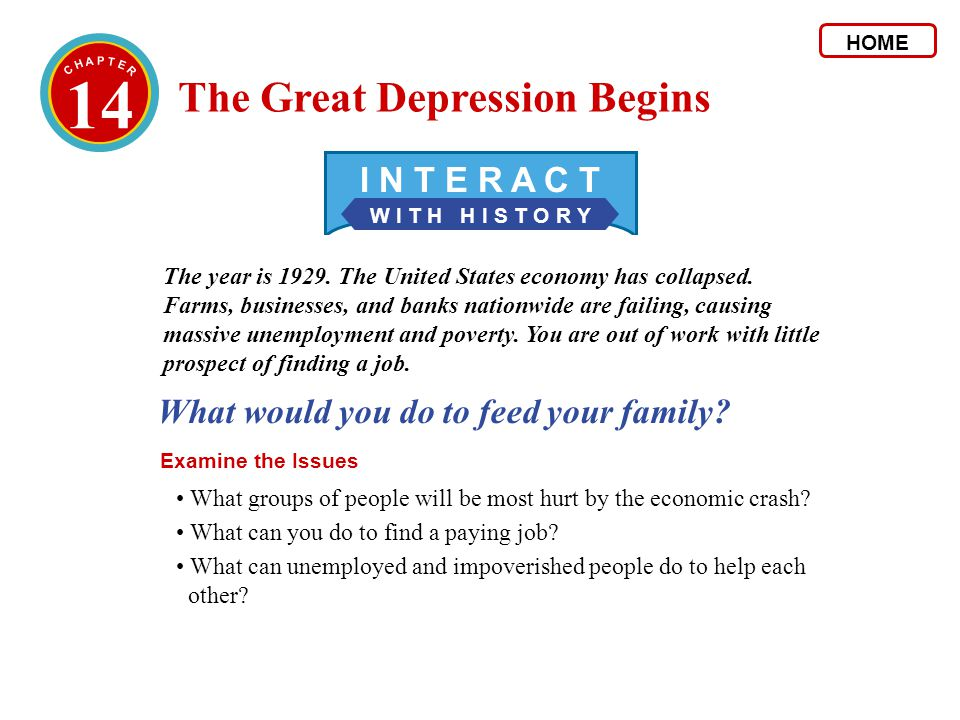 14 The Great Depression Begins I N T E R A C T