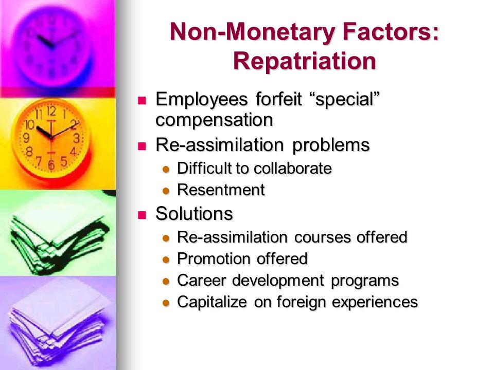 Non-Monetary Factors: Repatriation