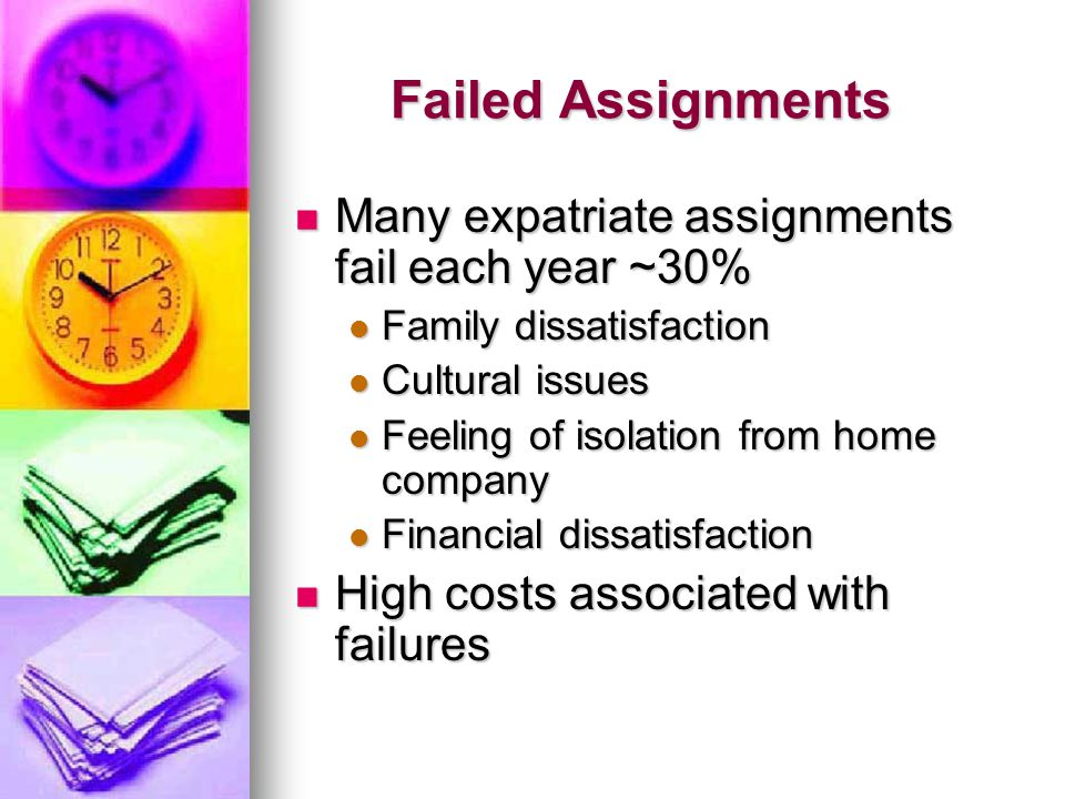 Failed Assignments Many expatriate assignments fail each year ~30%
