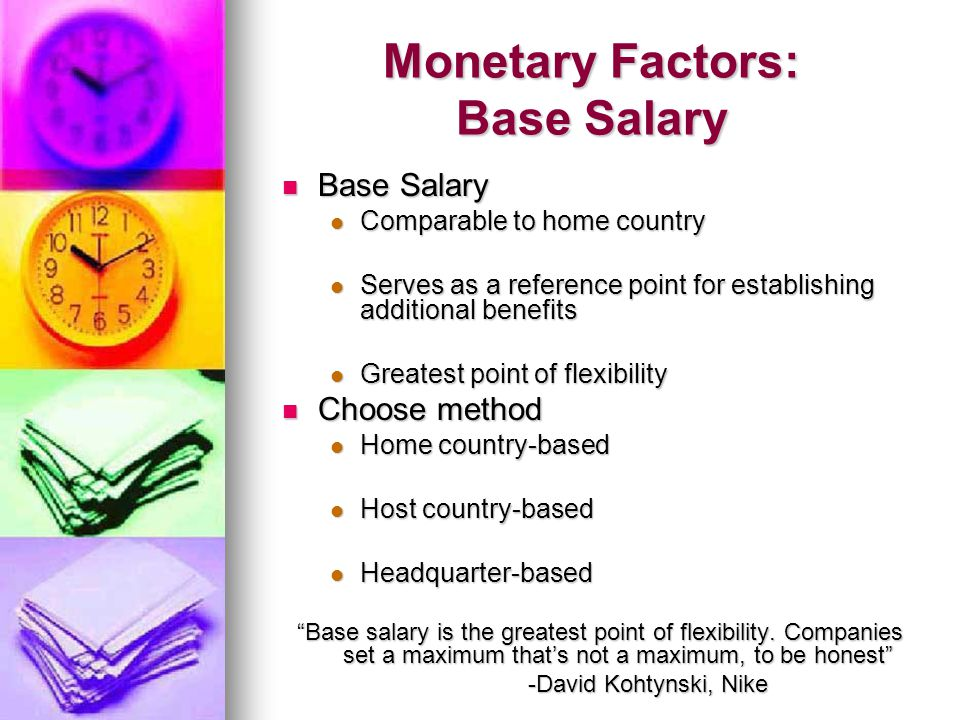 Monetary Factors: Base Salary