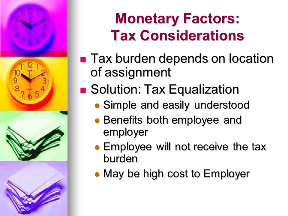 Monetary Factors: Tax Considerations