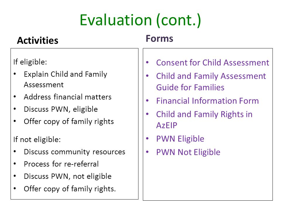 Evaluation (cont.) Forms Activities Consent for Child Assessment