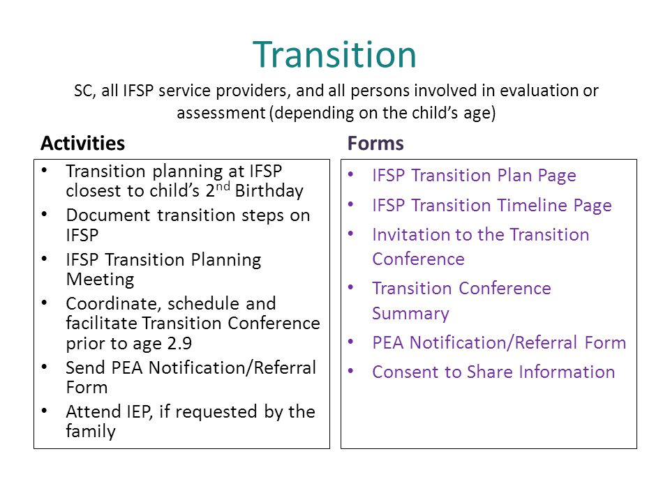 Transition Activities Forms