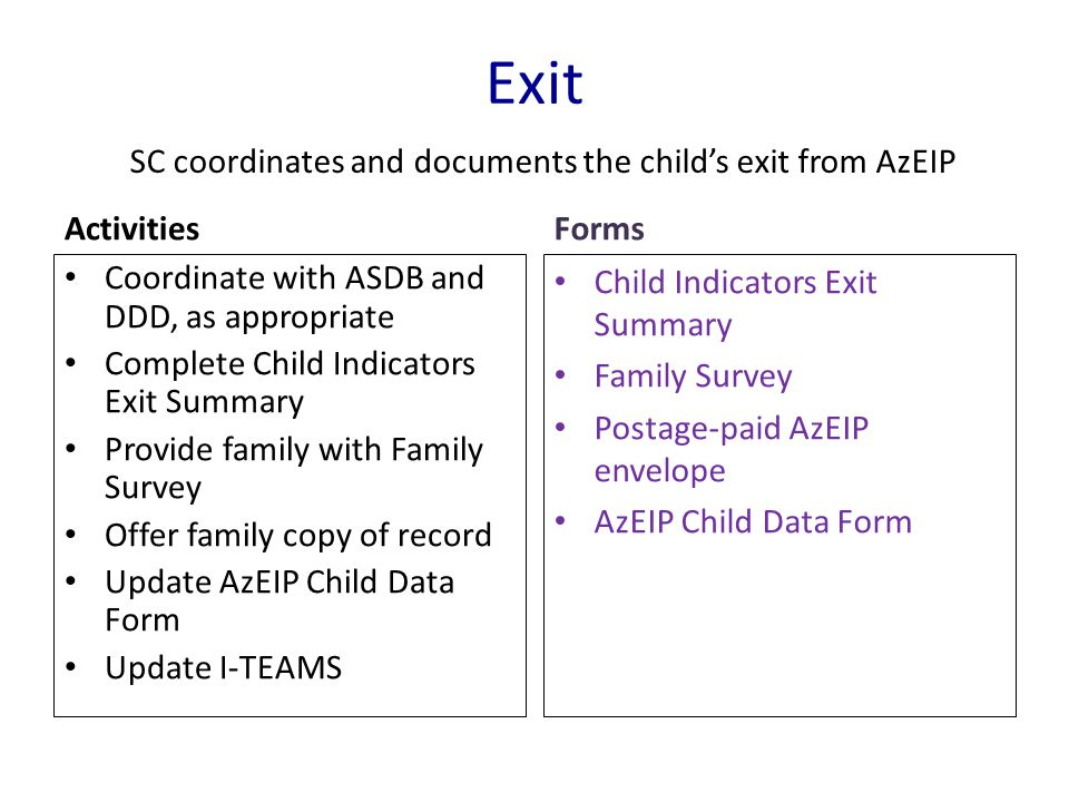 SC coordinates and documents the child's exit from AzEIP