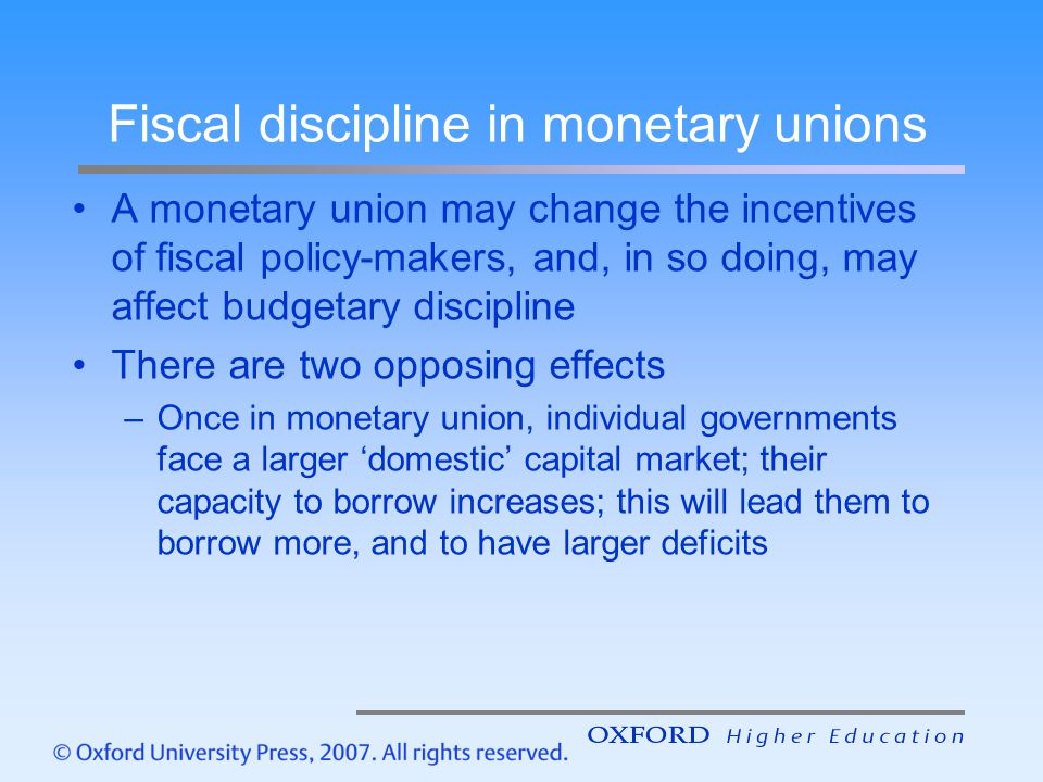 Fiscal discipline in monetary unions