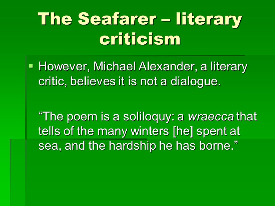 The Seafarer – literary criticism