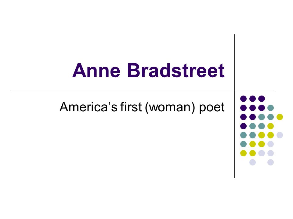 America's first (woman) poet