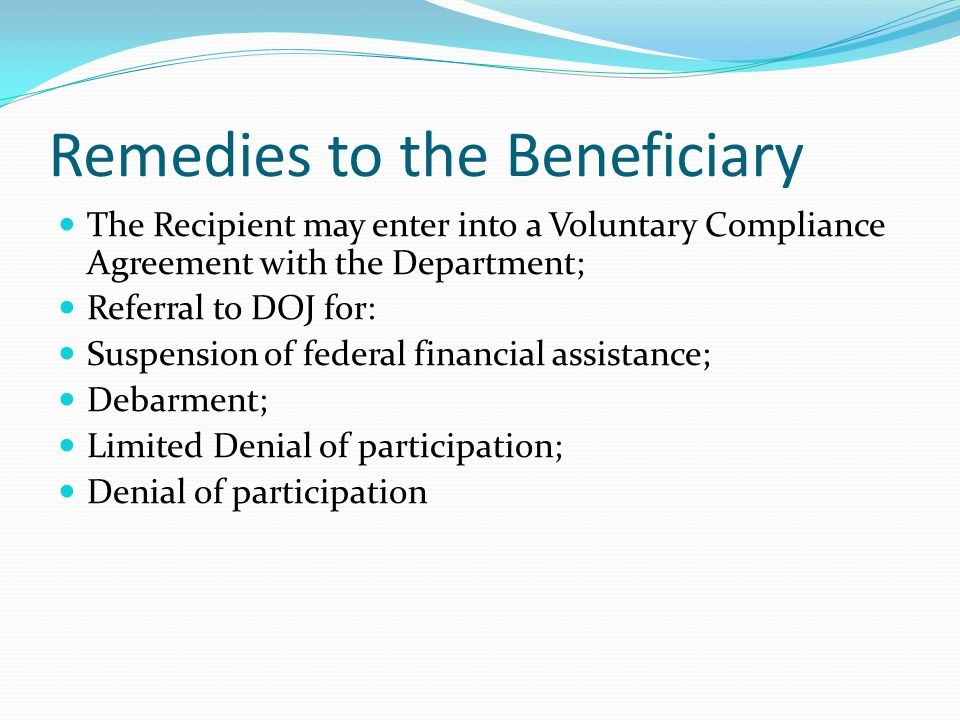 Remedies to the Beneficiary