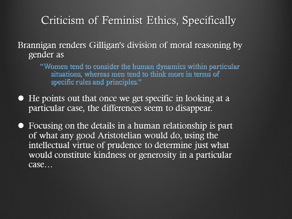 Criticism of Feminist Ethics, Specifically
