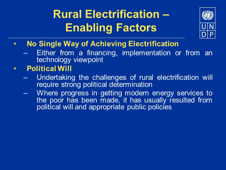 Rural Electrification – Enabling Factors