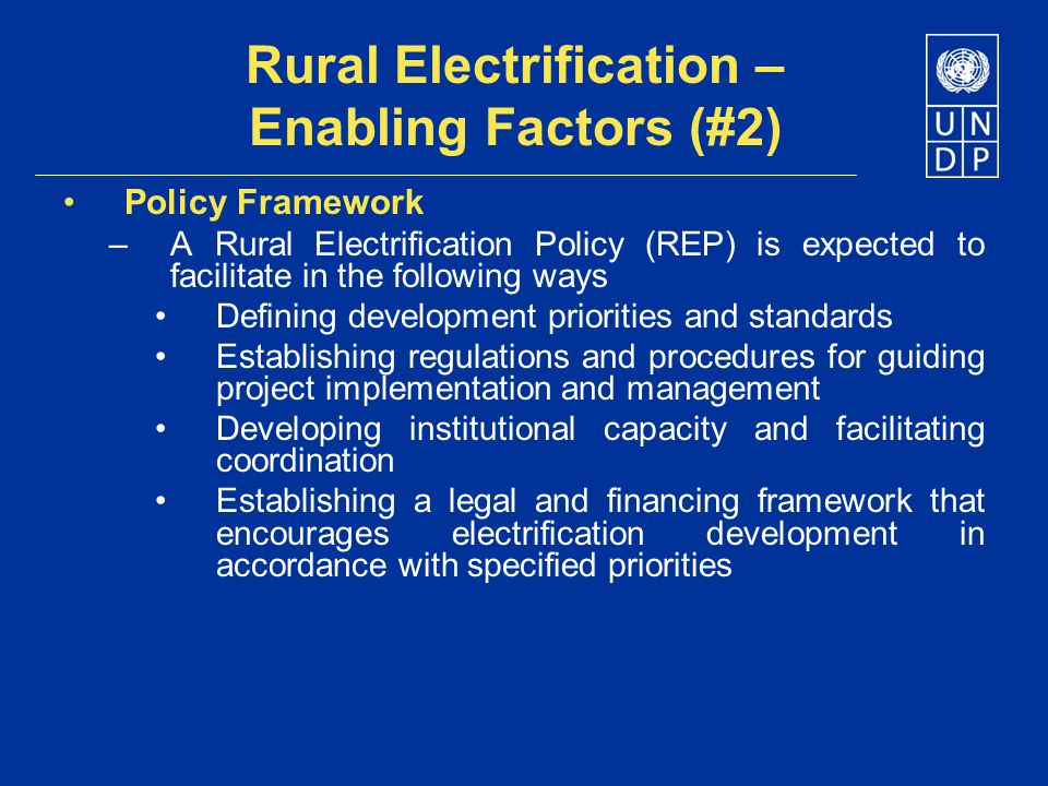 Rural Electrification – Enabling Factors (#2)