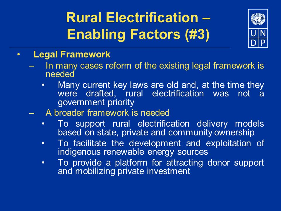 Rural Electrification – Enabling Factors (#3)