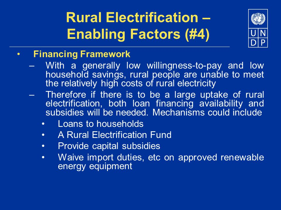 Rural Electrification – Enabling Factors (#4)