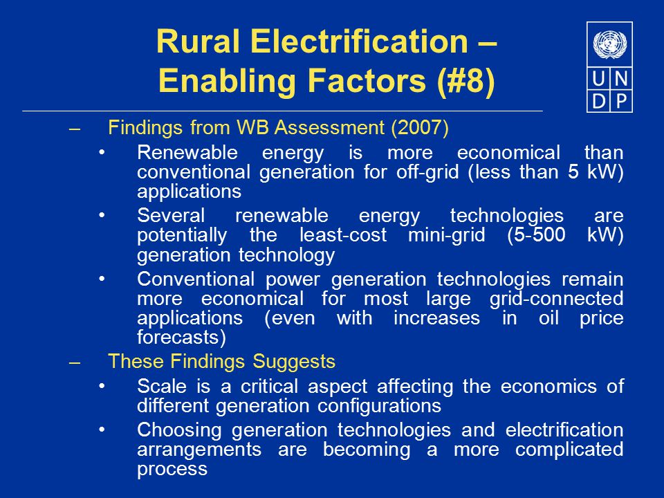 Rural Electrification – Enabling Factors (#8)