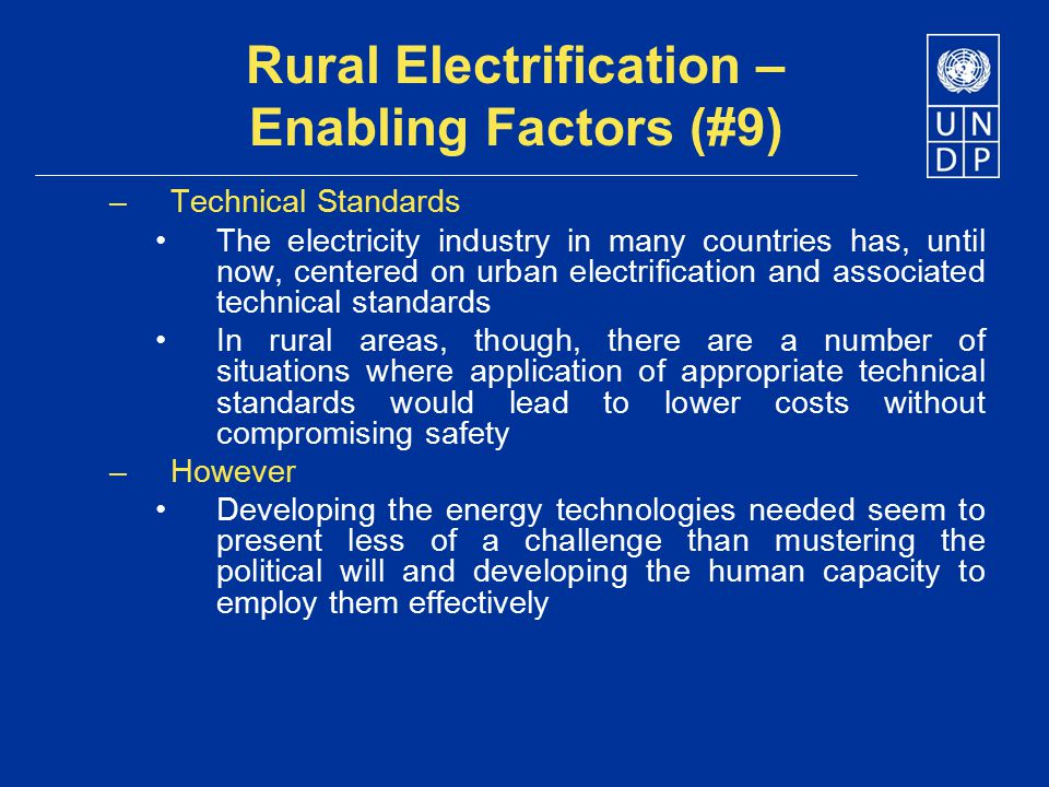 Rural Electrification – Enabling Factors (#9)