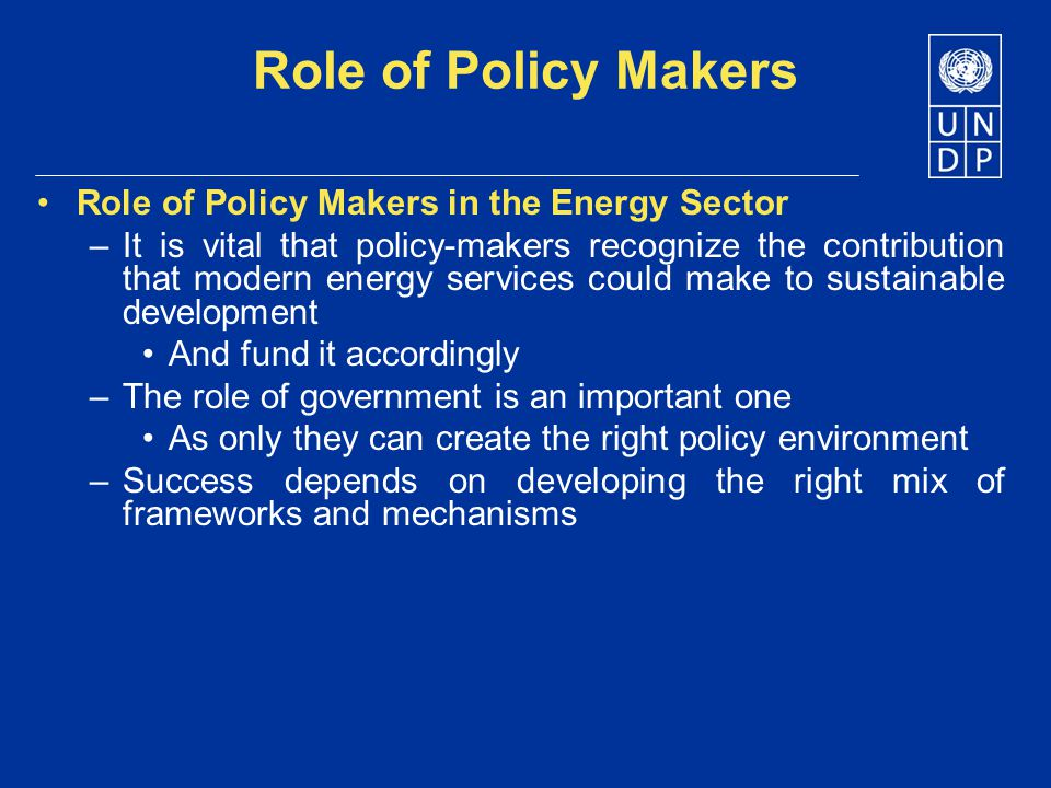 Role of Policy Makers Role of Policy Makers in the Energy Sector