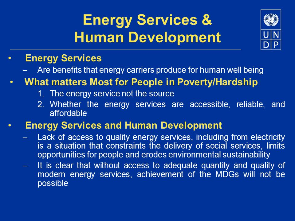 Energy Services & Human Development