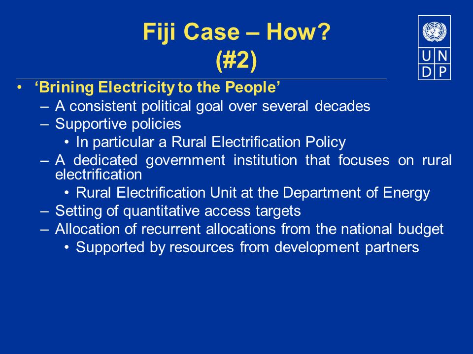 Fiji Case – How (#2) 'Brining Electricity to the People'