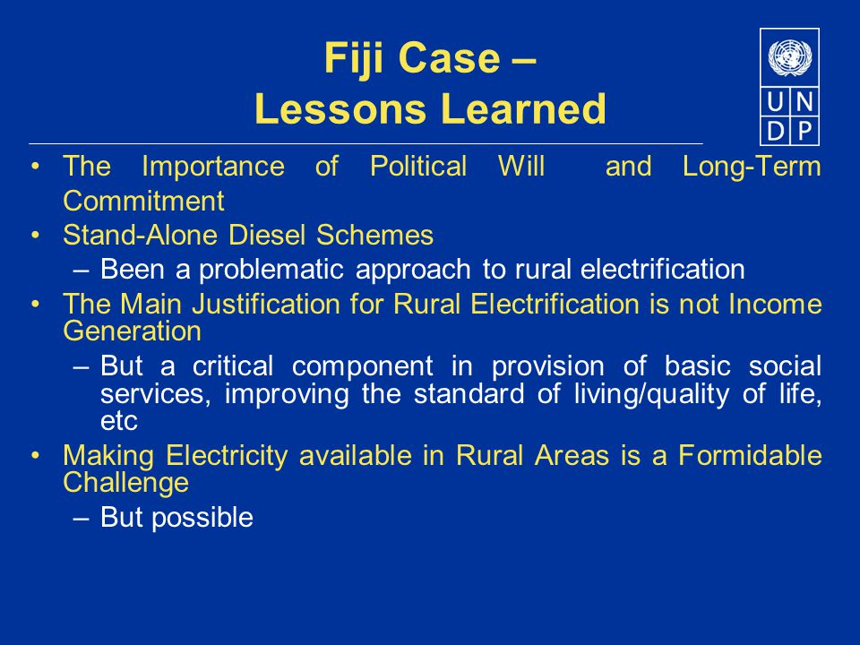 Fiji Case – Lessons Learned