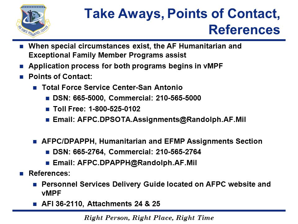 Take Aways, Points of Contact, References