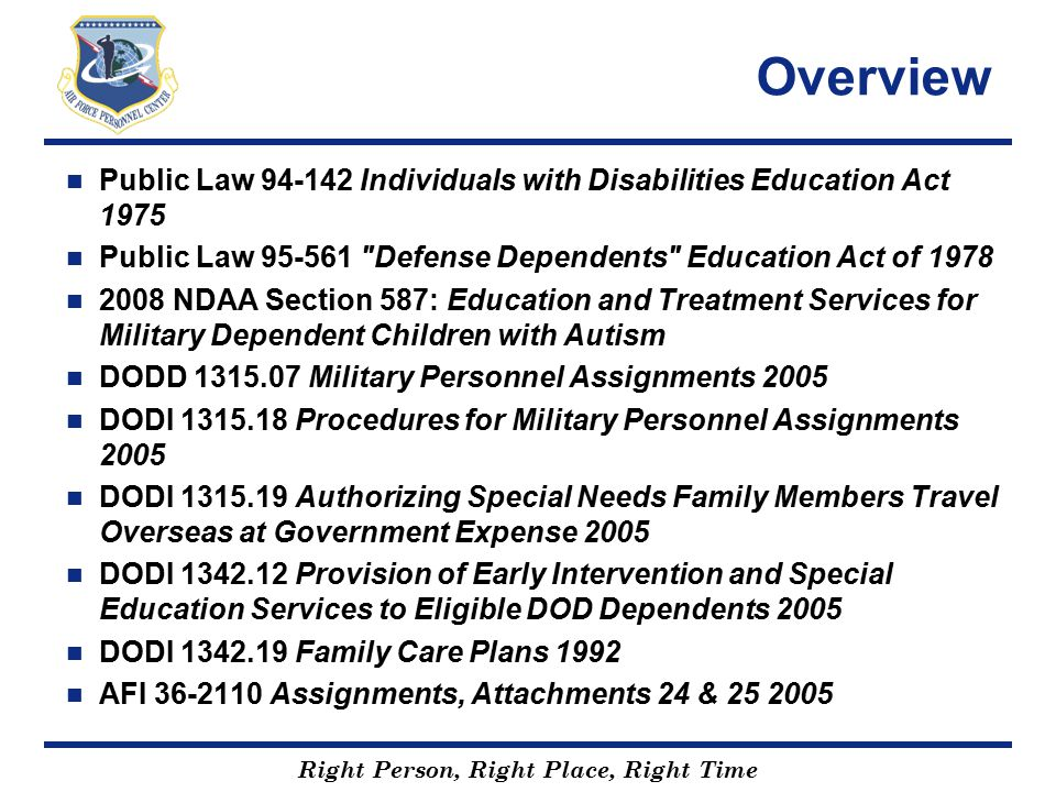 Overview Public Law 94-142 Individuals with Disabilities Education Act 1975. Public Law 95-561 Defense Dependents Education Act of 1978.