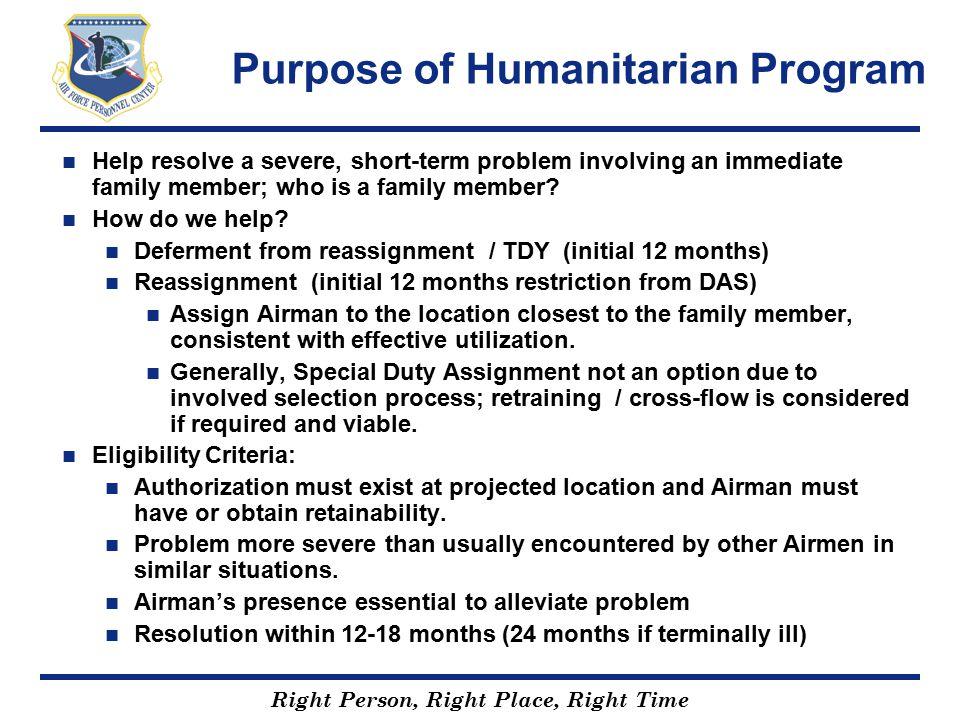 Purpose of Humanitarian Program