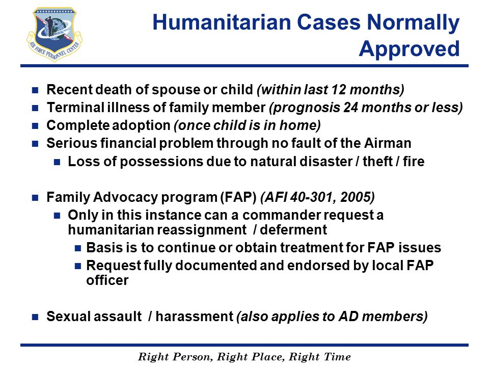 Humanitarian Cases Normally Approved