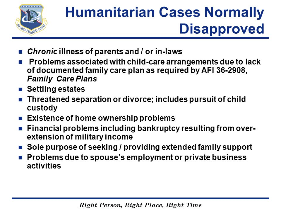 Humanitarian Cases Normally Disapproved