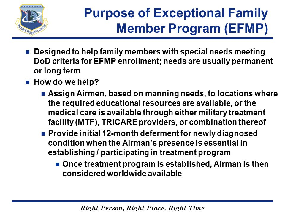 Purpose of Exceptional Family Member Program (EFMP)