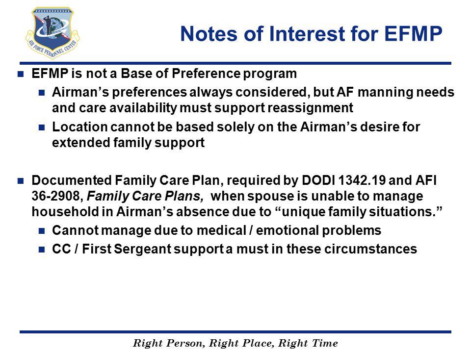Notes of Interest for EFMP