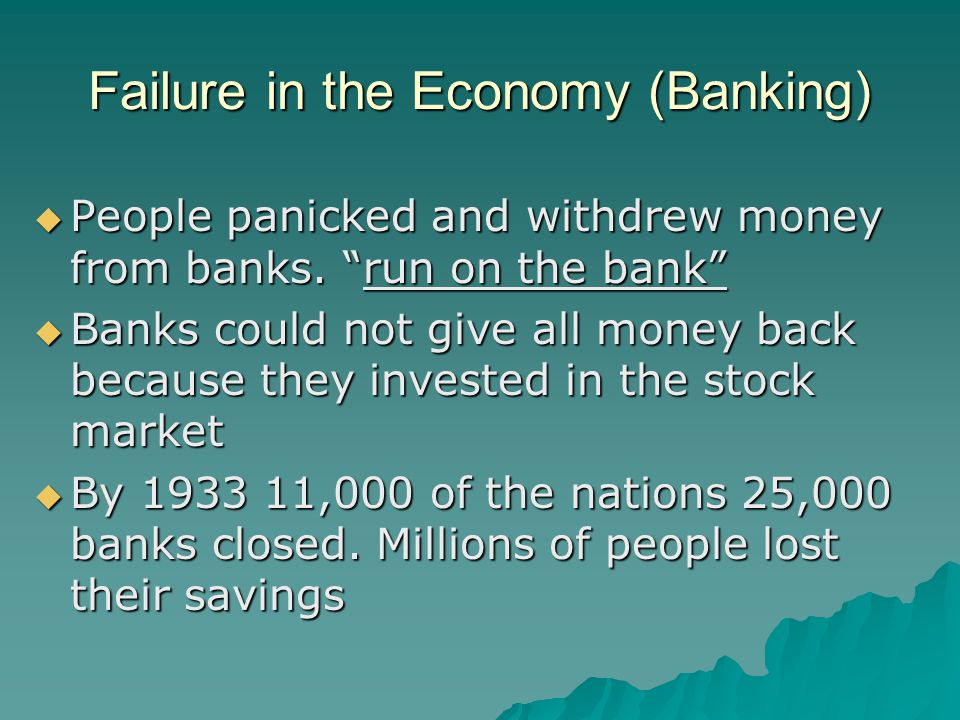 Failure in the Economy (Banking)
