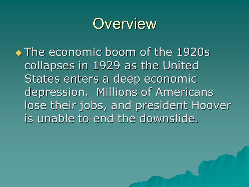 a overview of prosperity of the 1920s and the cause of great depression Due to the ending of the great war, economic prosperity for the upper class, and rapid social changes, many people throughout america began to throw away their beliefs and values for the exciting and exuberant life the 1920's offered.