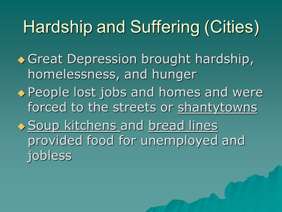 Hardship and Suffering (Cities)