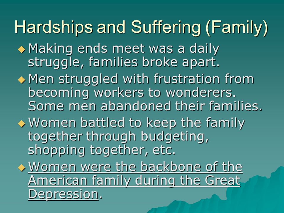 Hardships and Suffering (Family)