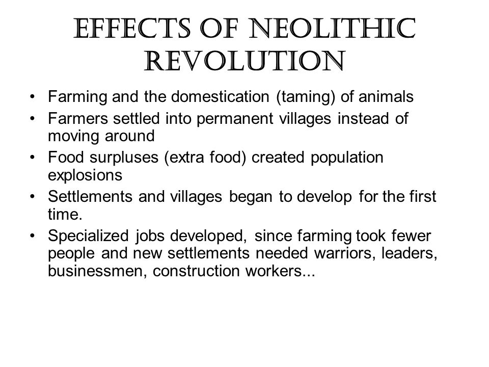 Effects of Neolithic Revolution