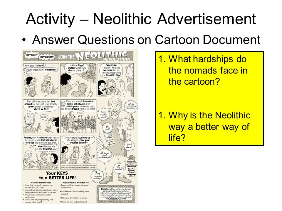Activity – Neolithic Advertisement