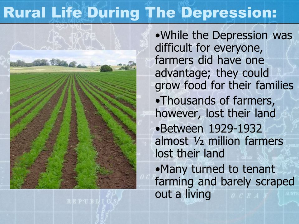 Rural Life During The Depression: