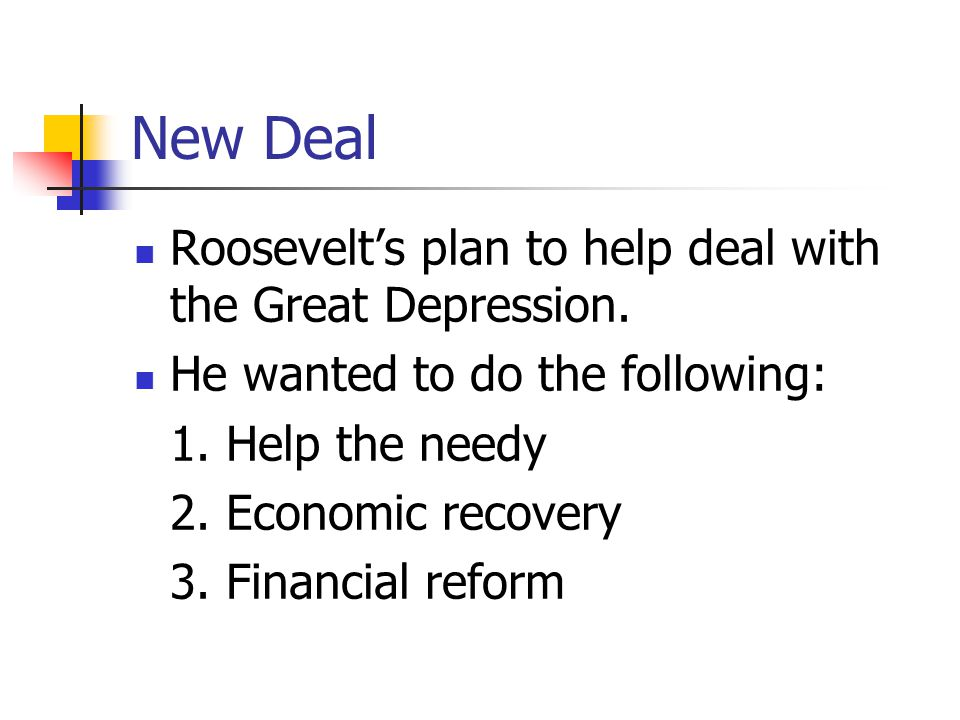New Deal Roosevelt's plan to help deal with the Great Depression.