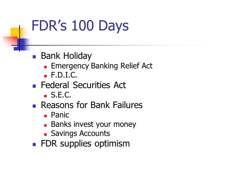 FDR's 100 Days Bank Holiday Federal Securities Act