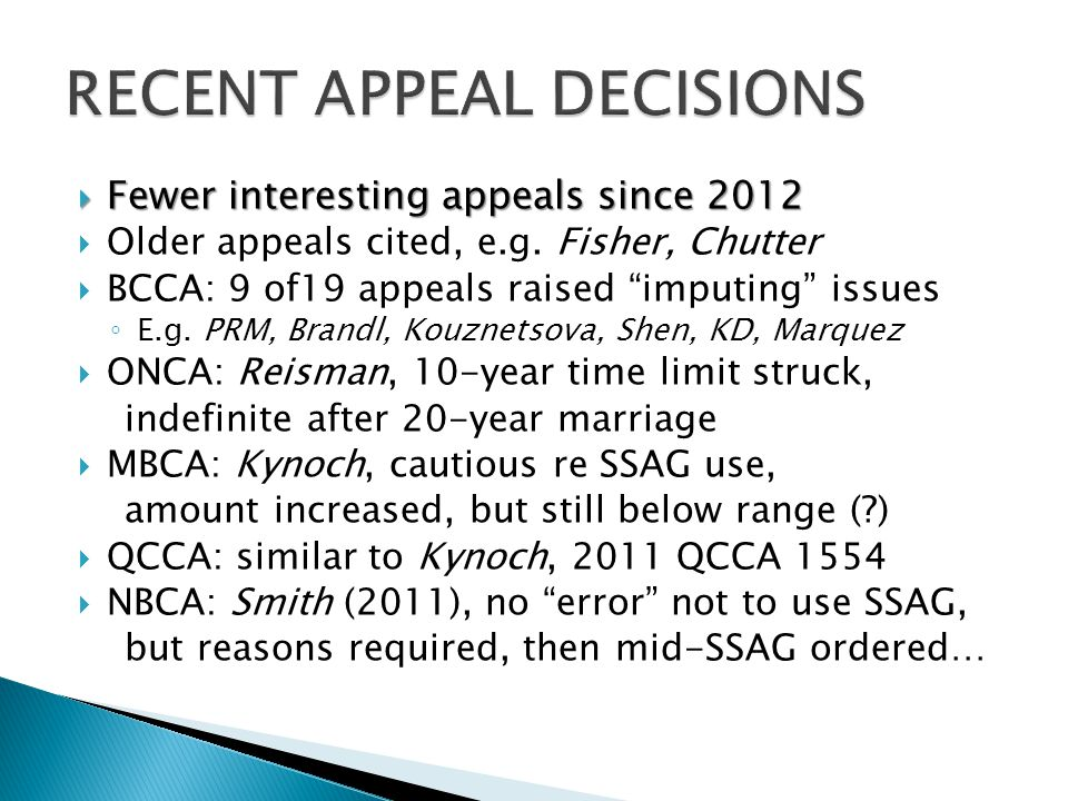 RECENT APPEAL DECISIONS