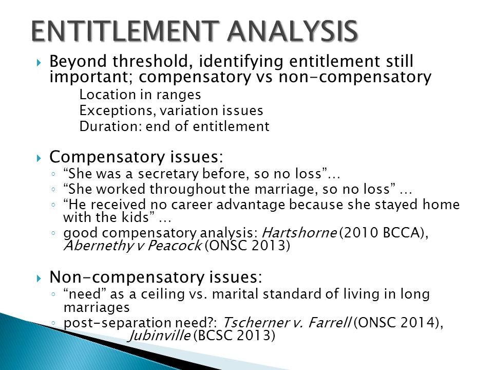 ENTITLEMENT ANALYSIS Beyond threshold, identifying entitlement still important; compensatory vs non-compensatory.
